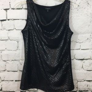 Sequin front on this pretty drake neck Talbots top